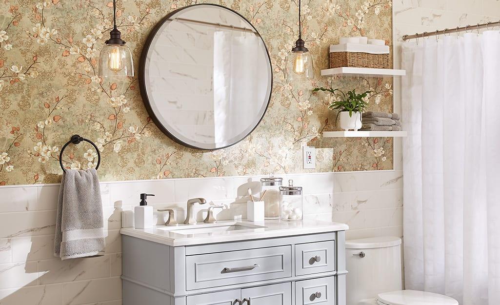 Vanity Light Height The Home Depot, Standard Height For Bathroom Vanity Light