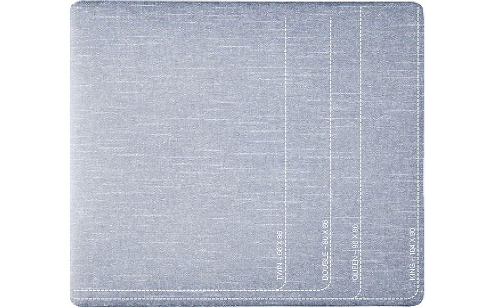 Duvet size chart showing standard dimensions.