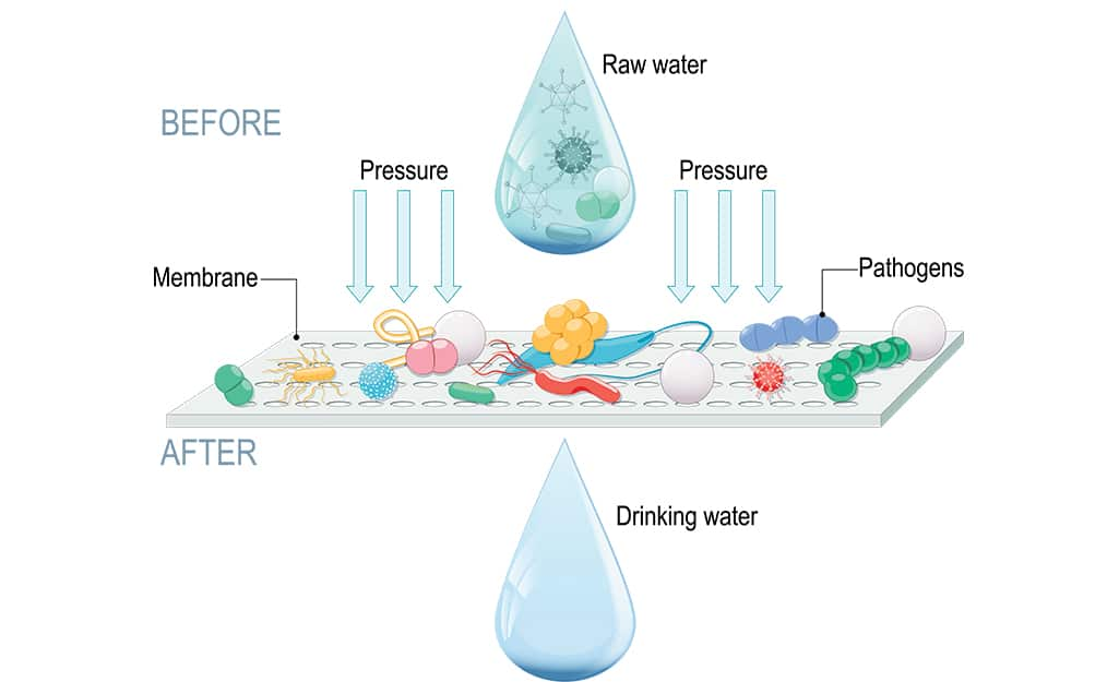 A diagram illustrating a contaminants being filtered from drinking water through reverse osmosis.