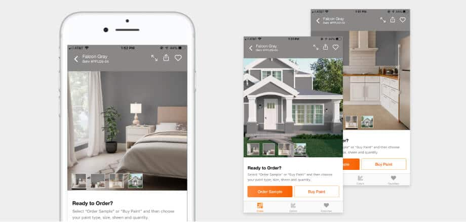 view your color choice in different rooms