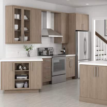 Edgeley Brown Slab Door Cabinets