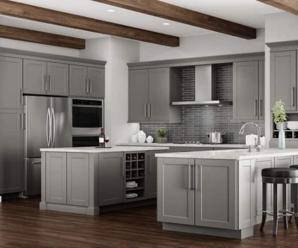 Hampton Bay Shaker Dove Gray Cabinets