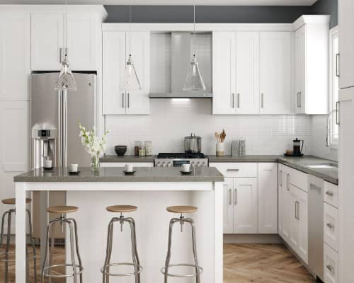 Hampton Bay Plywood Shaker Cabinets in White