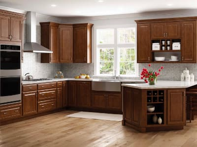 Brown Light Kitchen Cabinets Kitchen The Home Depot