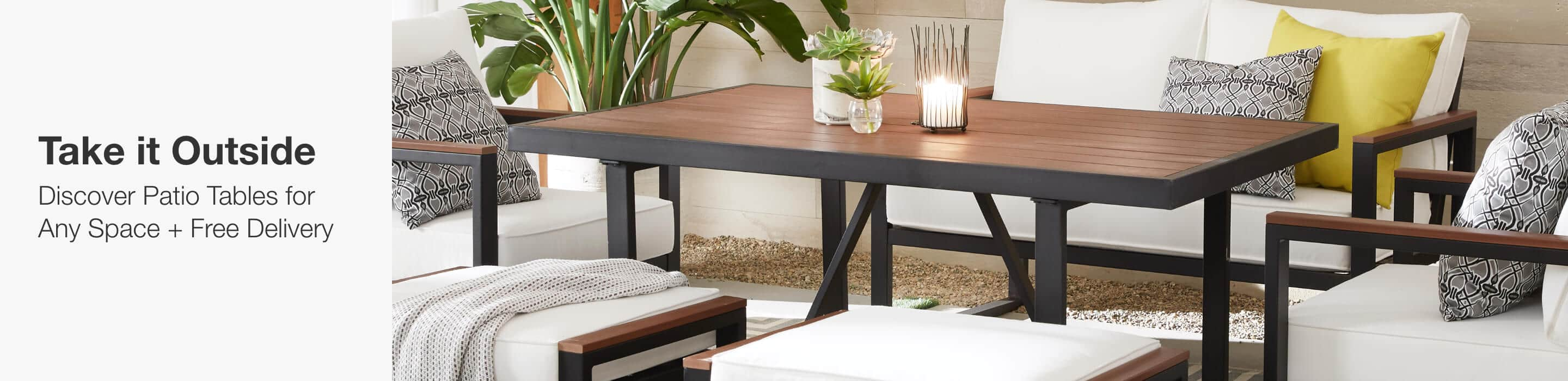 TAKE IT OUTSIDE Discover Patio Tables for Any Space + Free Delivery