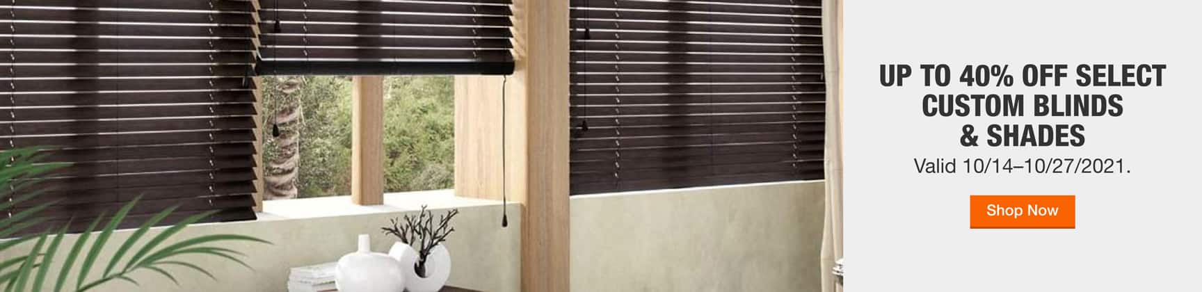 Up to 40% off Select Blinds & Shades