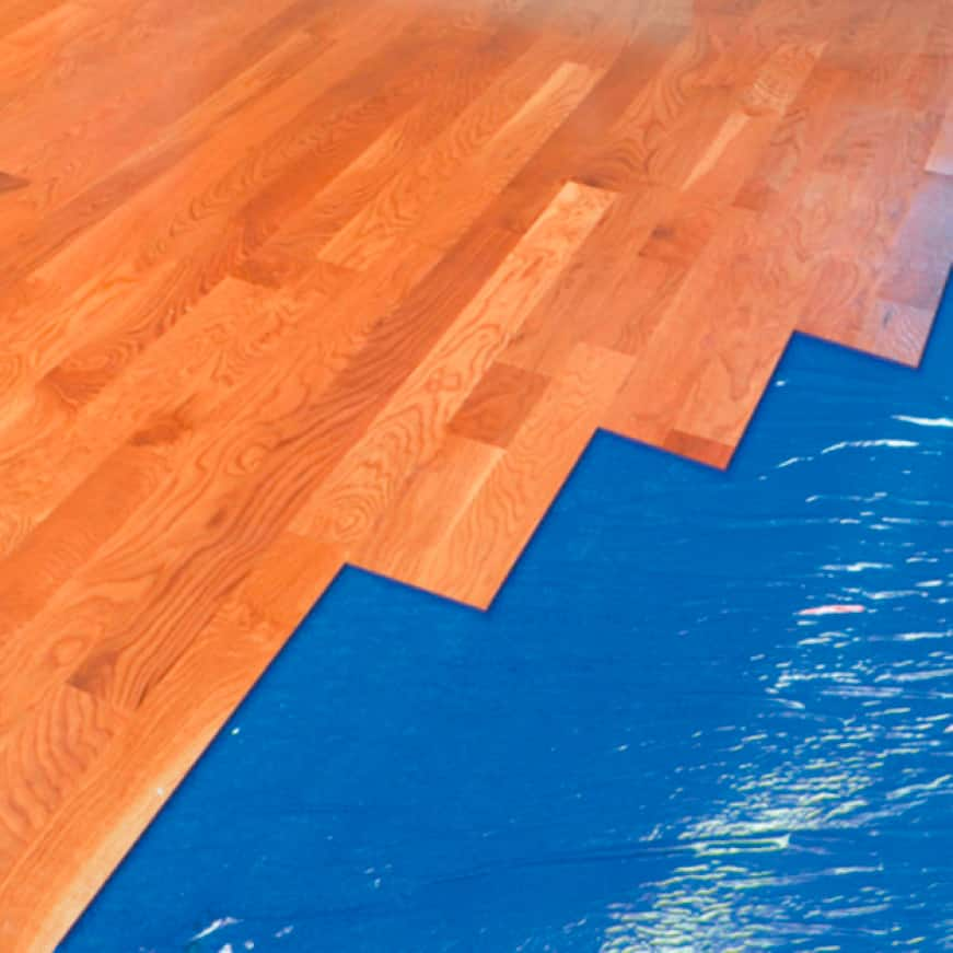 For floating laminate and engineered hardwood flooring, installed over wood or concrete subfloors