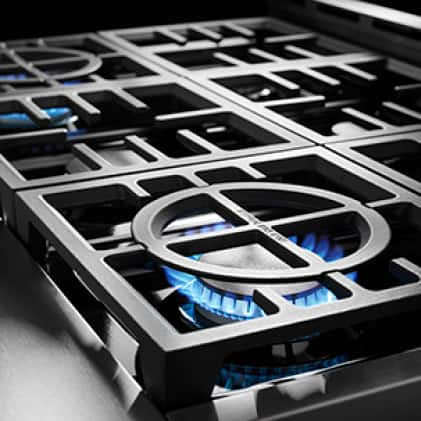 Three 15000 BTU burners for high-heat searing and boiling.