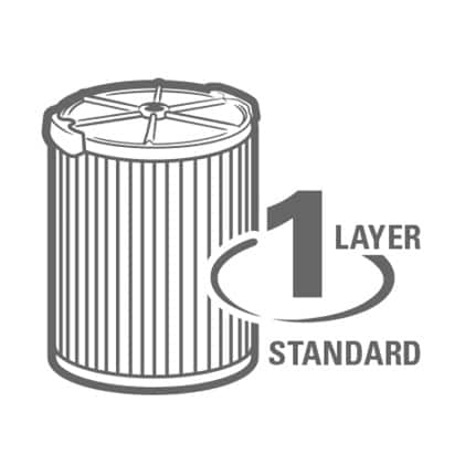 1 Layer offers filtration of general dirt and debris.