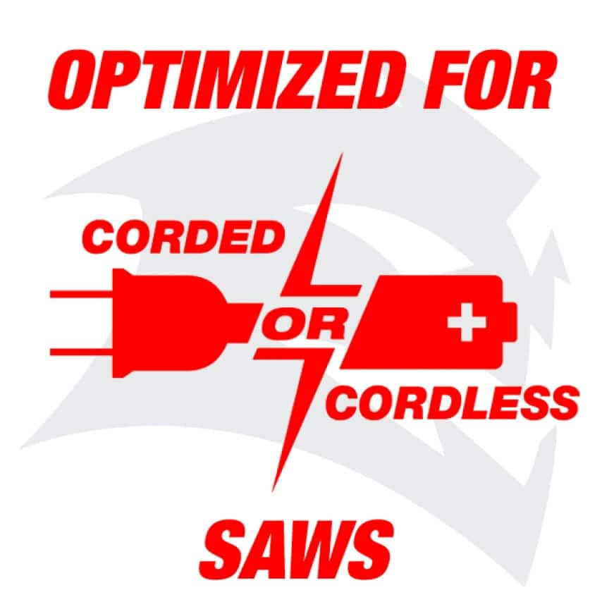 This is an image of Diablo's optimized for corded or cordless saws claim.