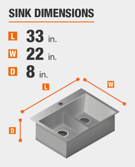 Sink dimensions are 33 inches L; 22 inches W; 8 inches D