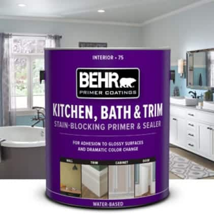 BEHR Kitchen, Bath & Trim Stain-Blocking Primer & Sealer can infront of painted bathroom
