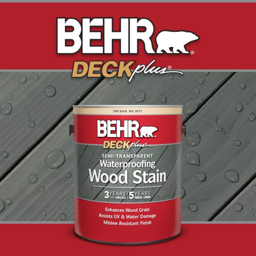 BEHR DECKplus badge shown with Semi-Transparent Stain can.