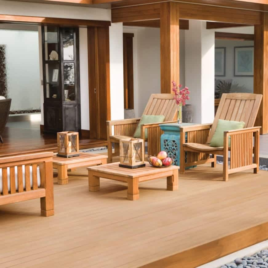 Exterior wood deck and furniture coated with Transparent Wood Finish in color Clear 500 and 400.