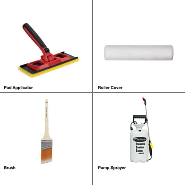 Proper tools for application. Pad applicator, roller cover, brush, and pump sprayer.