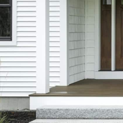 Wood siding coated with Solid Color Wood Stain - White color White 5011/211