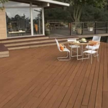 Exterior wood deck coated with Semi-Transparent Wood Stain - Brown color Chocolate ST-129