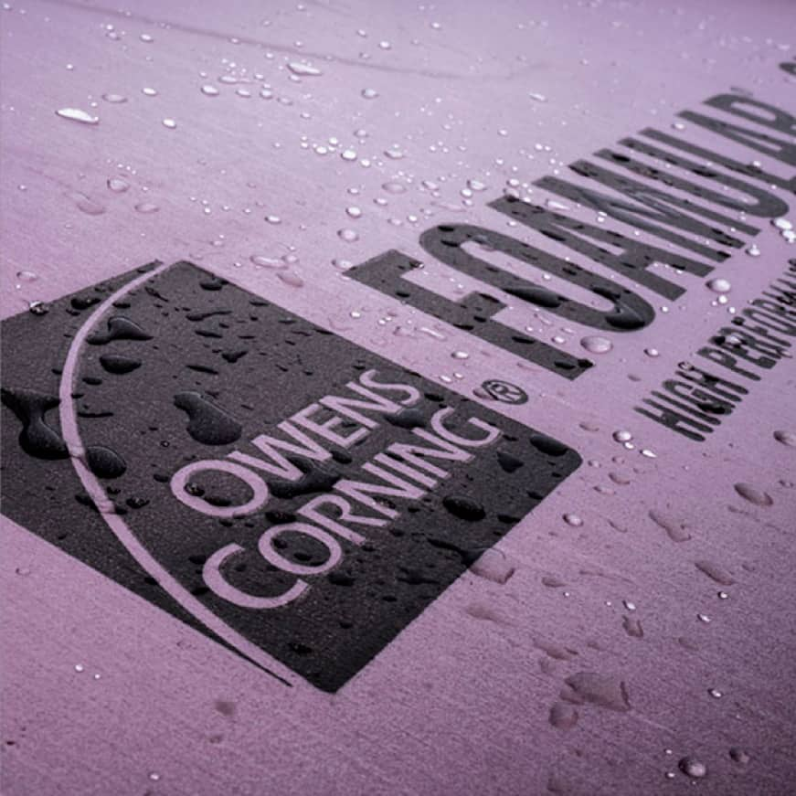 close up of Owens Corning Foamular with water beads