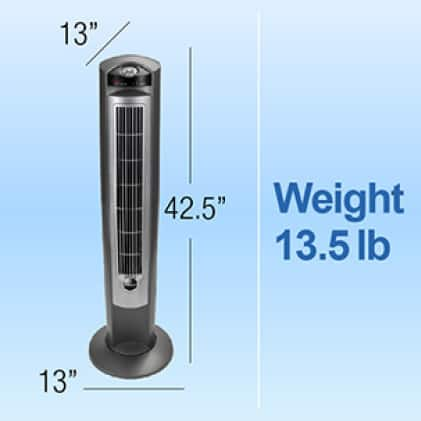 42 in. tower fan weighing 13.5 lb.