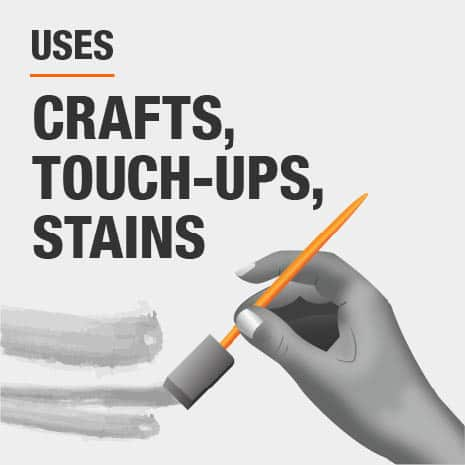 Foam is best used for crafts, touch-up projects, and stain projects