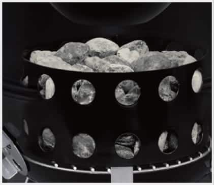 The charcoal chamber consolidates fuel for efficient burning.