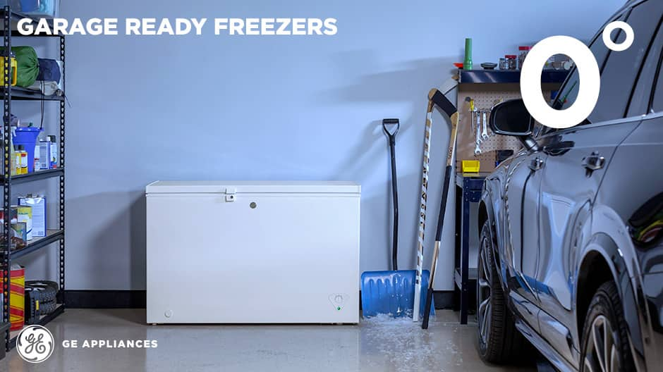 Chest freezer in a garage in the cold winter
