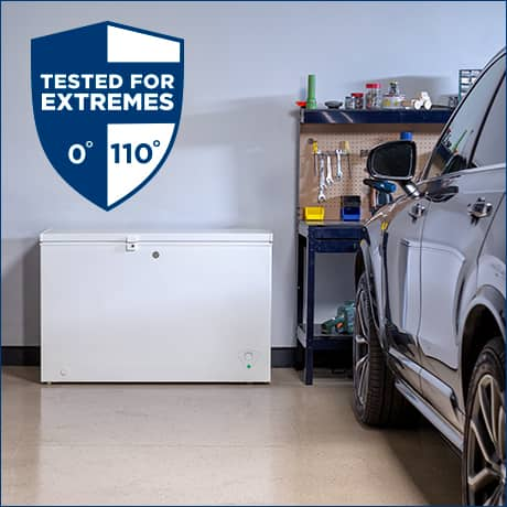 Chest freezer in a garage with a tested for extremes shield