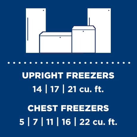 Graphic of the freezer lineup showing upright and chest cubic feet options