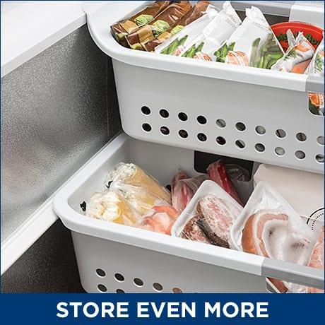 Frozen food in 2 baskets inside of the freezer