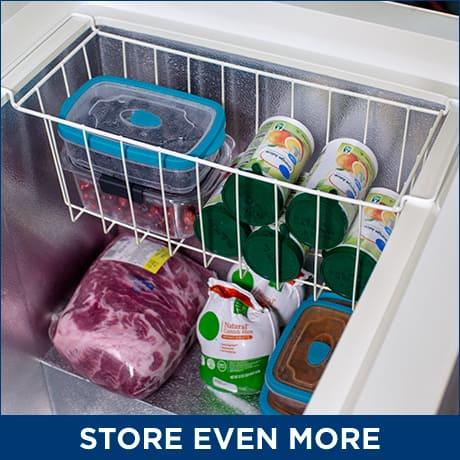 Organized food items inside of the freezer