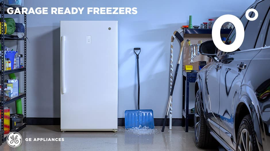 Upright freezer in a garage in the cold winter
