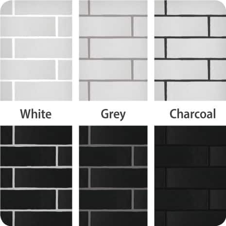 These examples of Bianco and Nero Chester tiles paired with white, grey and charcoal grout show the impact different colors can have on your install.