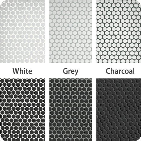 These Black and White penny tiles finished with white, grey and charcoal grout show the impact different colors can have on your tile installation.