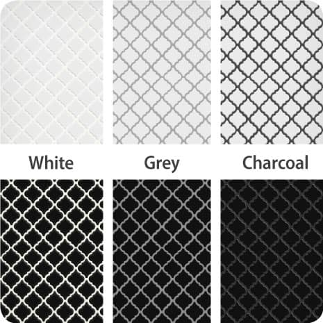 These Black and White mosaic tiles finished with white, grey and charcoal grout show the impact different colors can have on your tile installation.