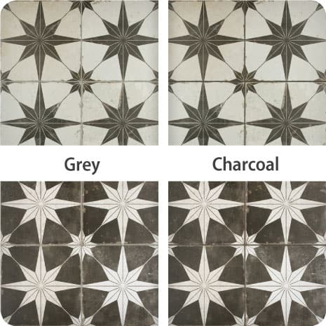 These examples of Star Night and Star Nero tiles finished with grey and charcoal grout show the impact different colors can have on your tile install.