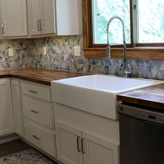 Your Hardwood Reflections European Walnut Butcher Block can be installed with both an inset sink and an under-mount sinks