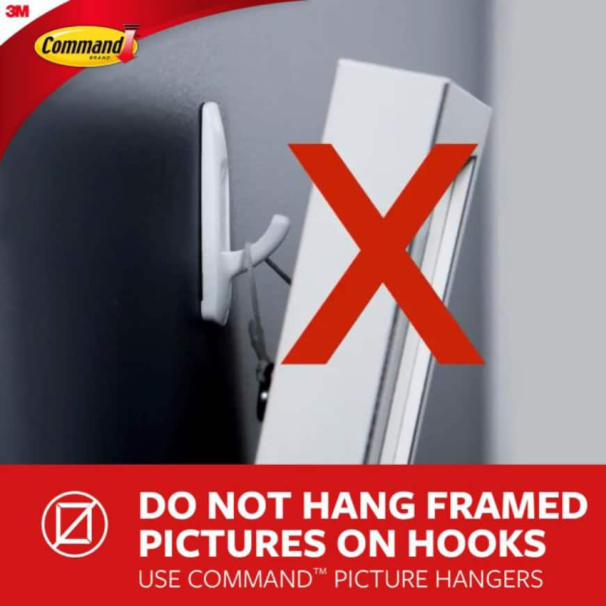 Do not hang frames on picture hooks