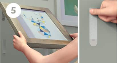 Peel frame as shown. Press each strip on wall for 30 seconds.