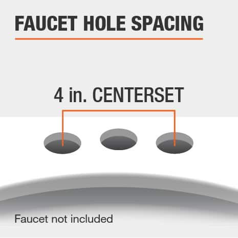 The faucet hole spacing for this vanity top is 4 In. Centerset