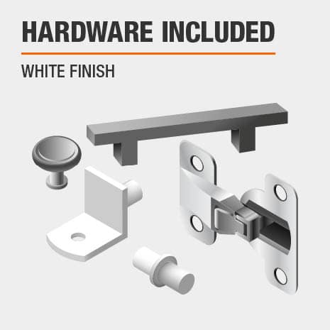 This bathroom vanity includes hardware