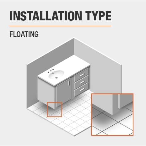 This is a floating bathroom vanity