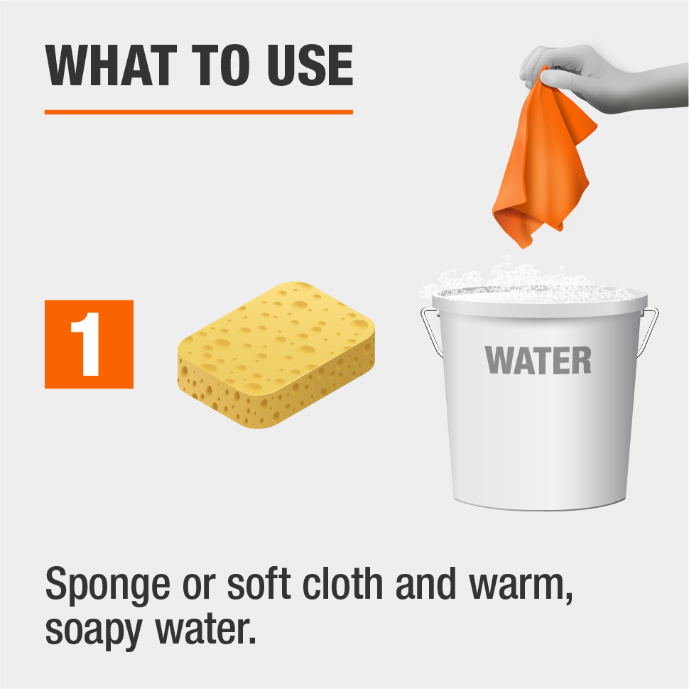 Use a sponge or soft cloth and warm soapy water