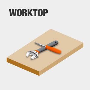 Tool chest has worktop.