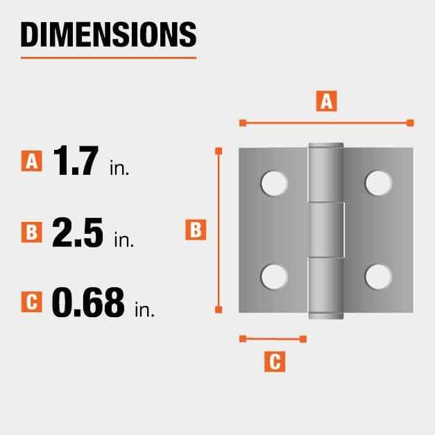 2.5 inch height x 1.7 inch width x 0.68 inch leaf width hinge dimensions