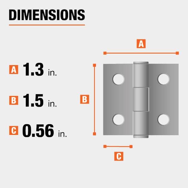 1.5 inch height x 1.3 inch width x 0.56 inch leaf width hinge dimensions