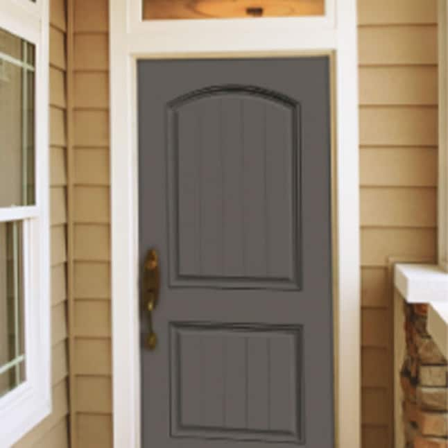 2-Panel Plank Arch Top Steel Door in the color Graphite placed in the entry way of a home