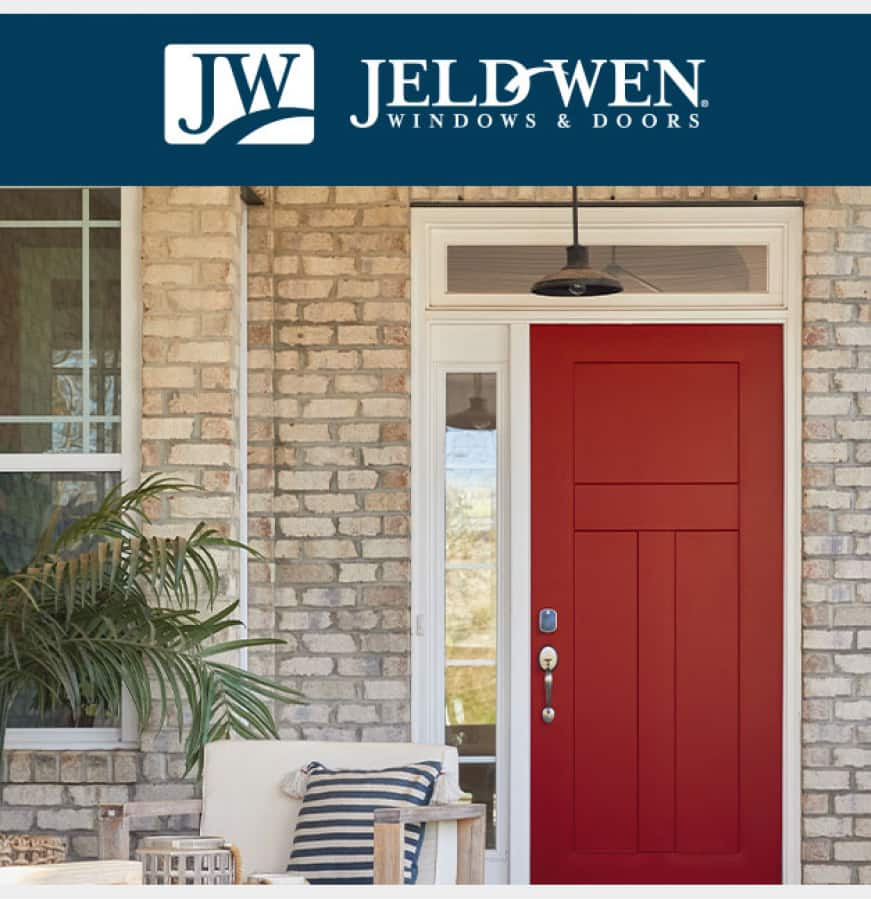 JW logo across the top of an image of a Persimmon colored 3-Panel Craftsman Flat Panel Steel door placed in the entry of a brick home.