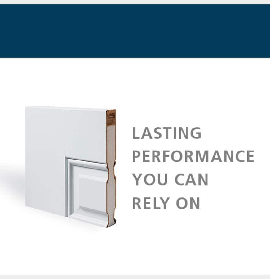 "Visual of the core of a steel door. Text reads ""Lasting performance you can rely on"""