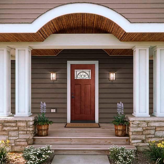 Craftsman style fiberglass door with decorative glass