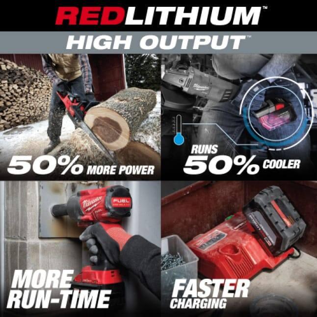 Four Milwaukee tools utilizing M18 REDLITHIUM HIGH OUTPUT Batteries on various jobsites